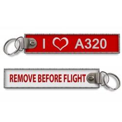 Breloc brodat I LOVE A320